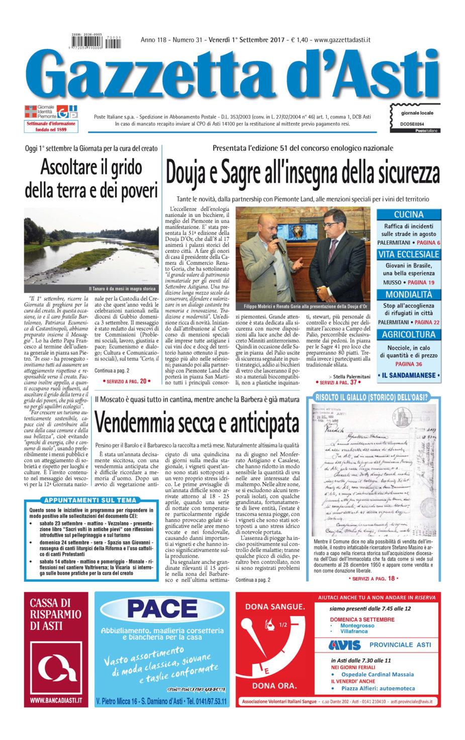 Prima pagina – 1° settembre 2017