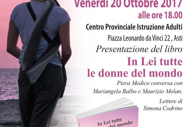"""Venerdì 20 ottobre ad Asti si presenta il libro """"In Lei tutte le donne del mondo"""""""