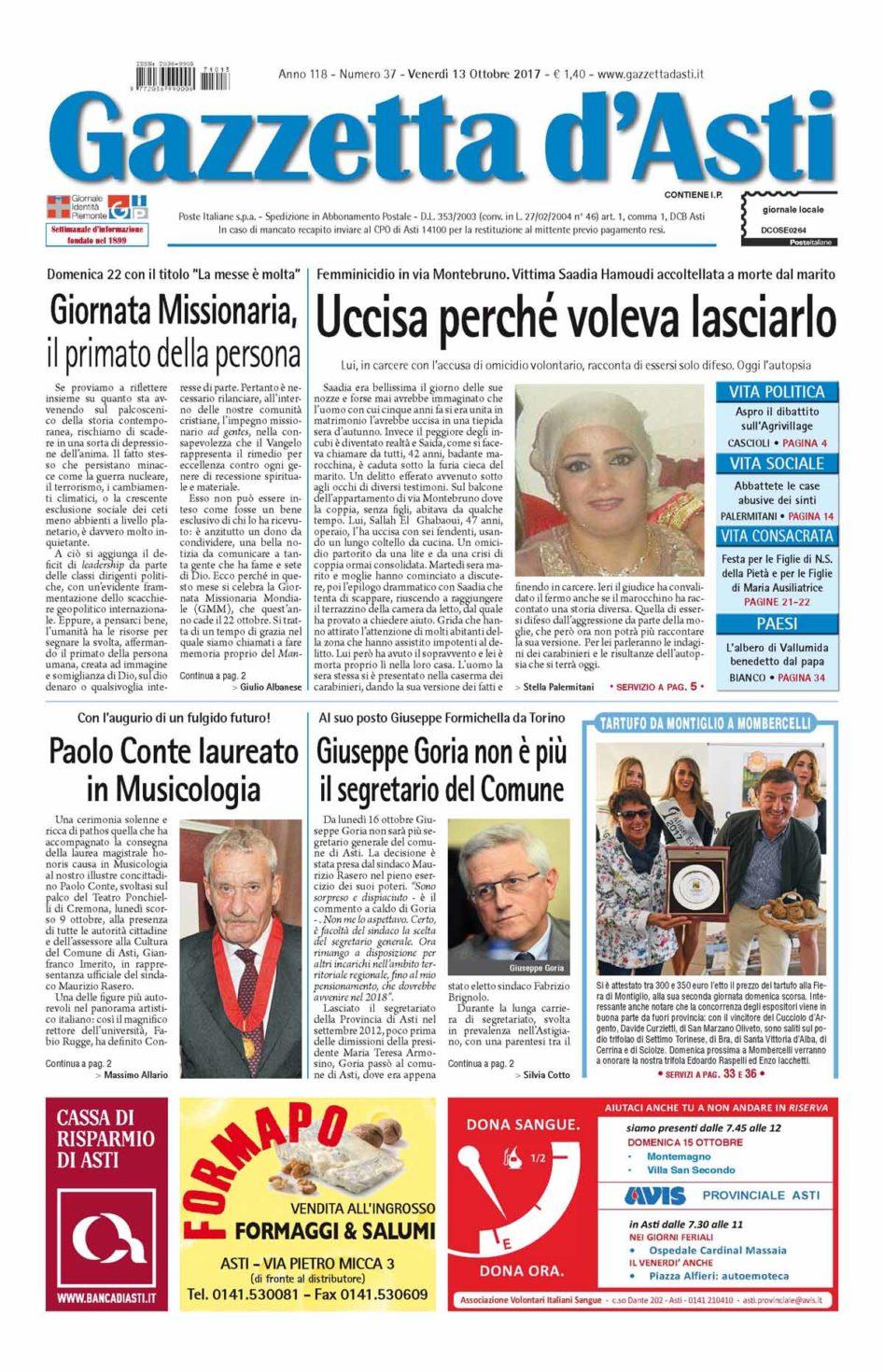 Prima pagina – 13 ottobre 2017
