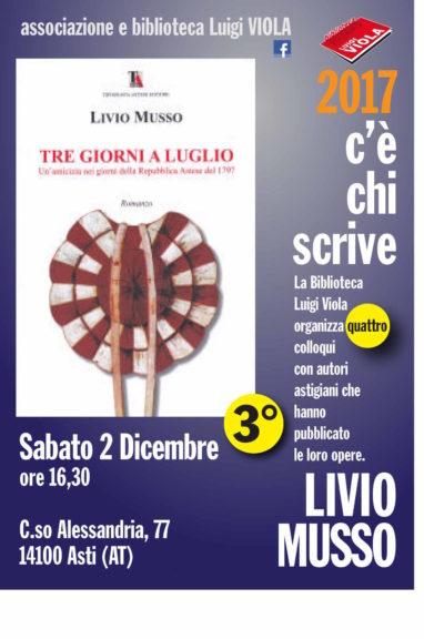 """Livio Musso alla Biblioteca Viola per """"C'è chi scrive"""""""