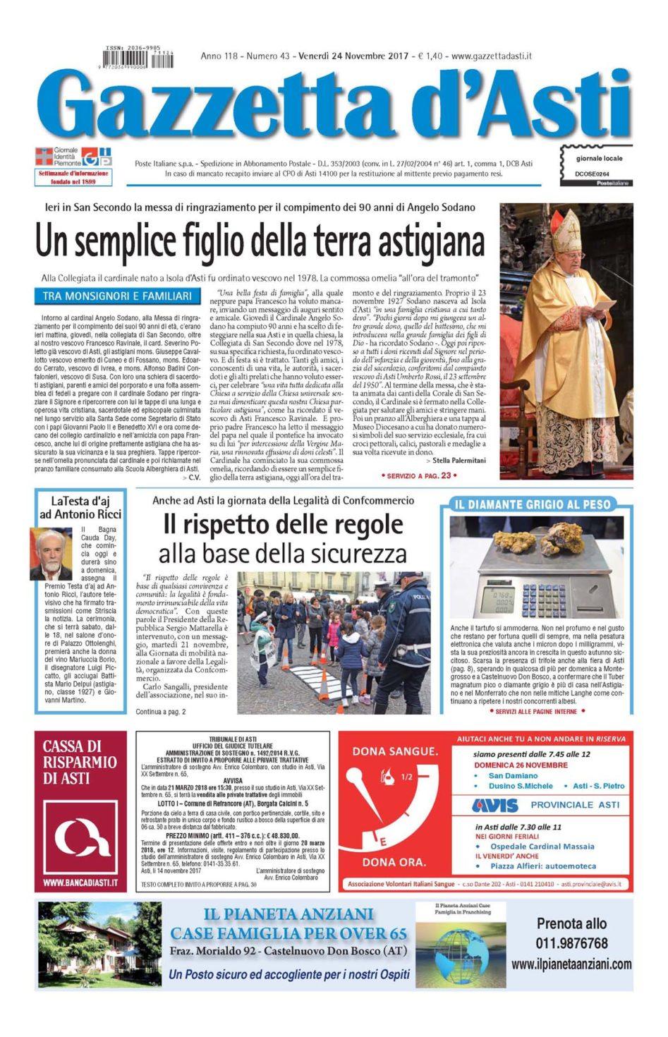 Prima pagina – 24 novembre 2017