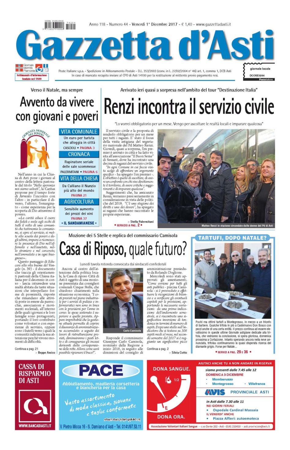 Prima pagina – 1° dicembre 2017
