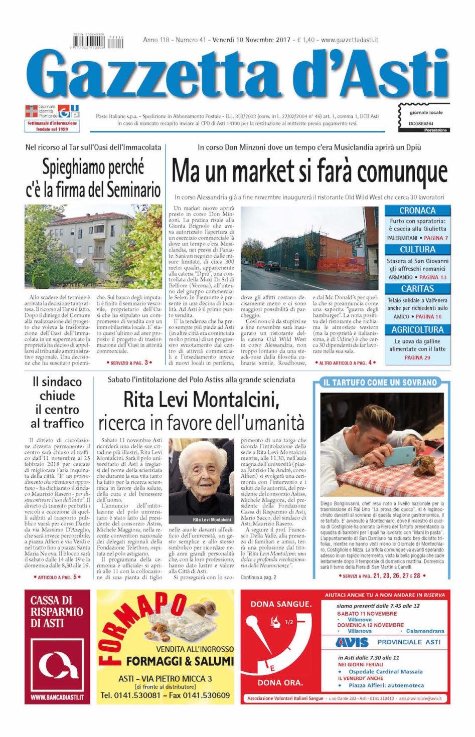 Prima pagina – 10 novembre 2017