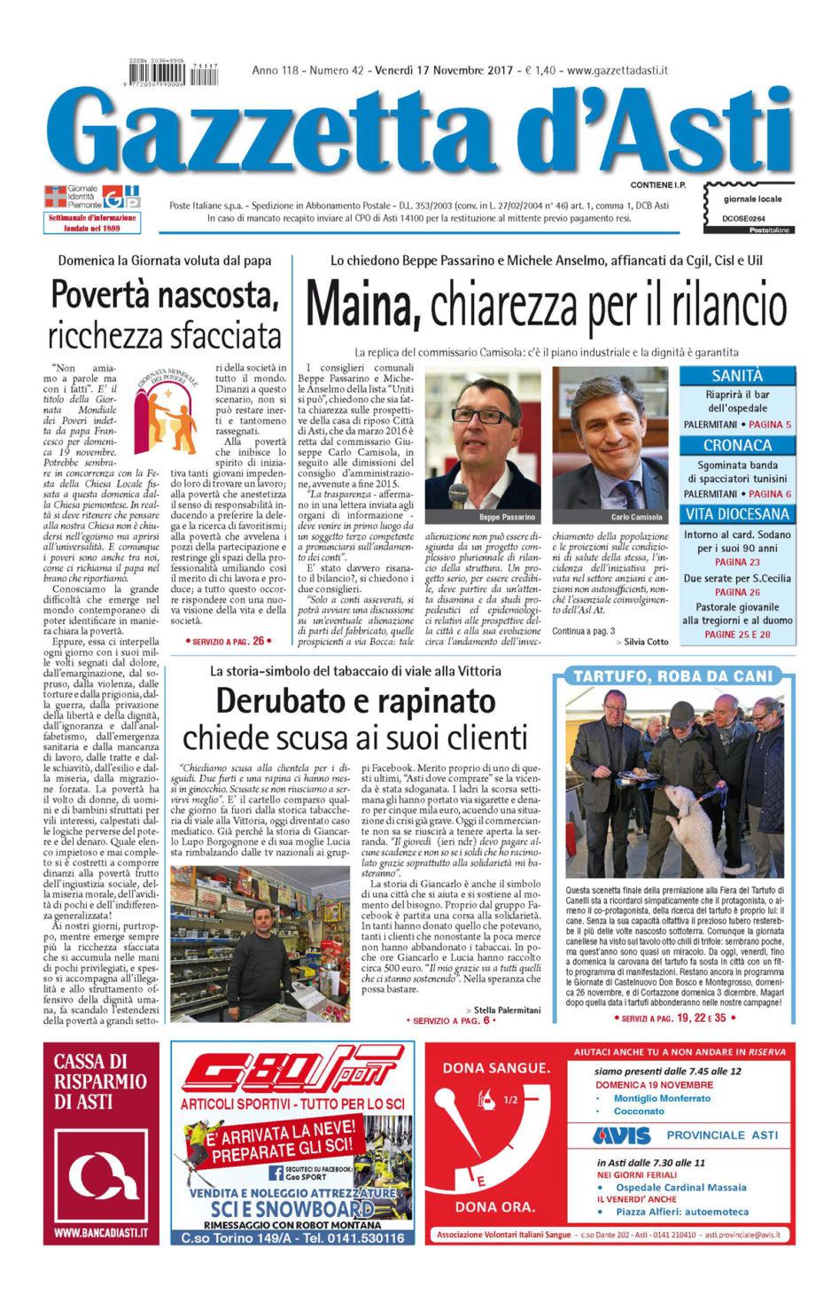 Prima pagina – 11 novembre 2017