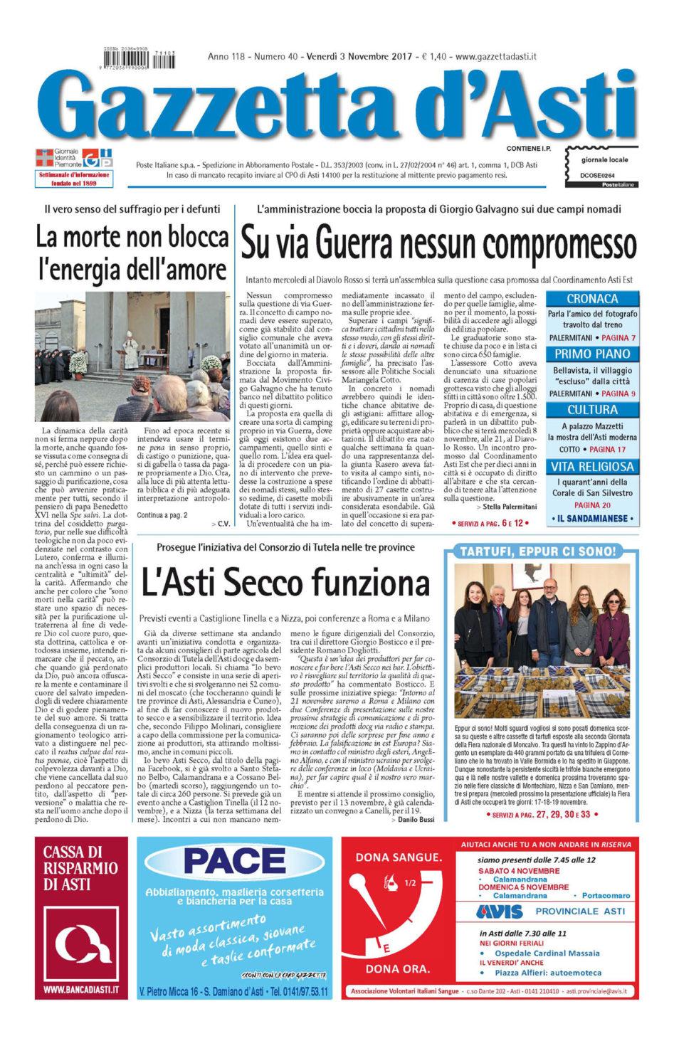 Prima pagina – 3 novembre 2017