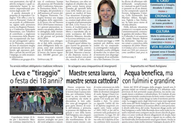 Prima pagina – 12 gennaio 2018