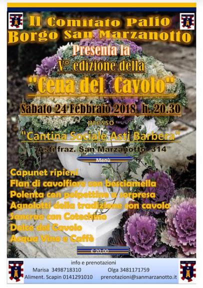 Cena del Cavolo con il Comitato Palio Borgo San Marzanotto