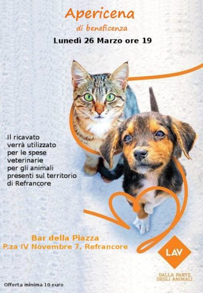 Lav Asti: un aperitivo veg per sostenere le spese veterinarie