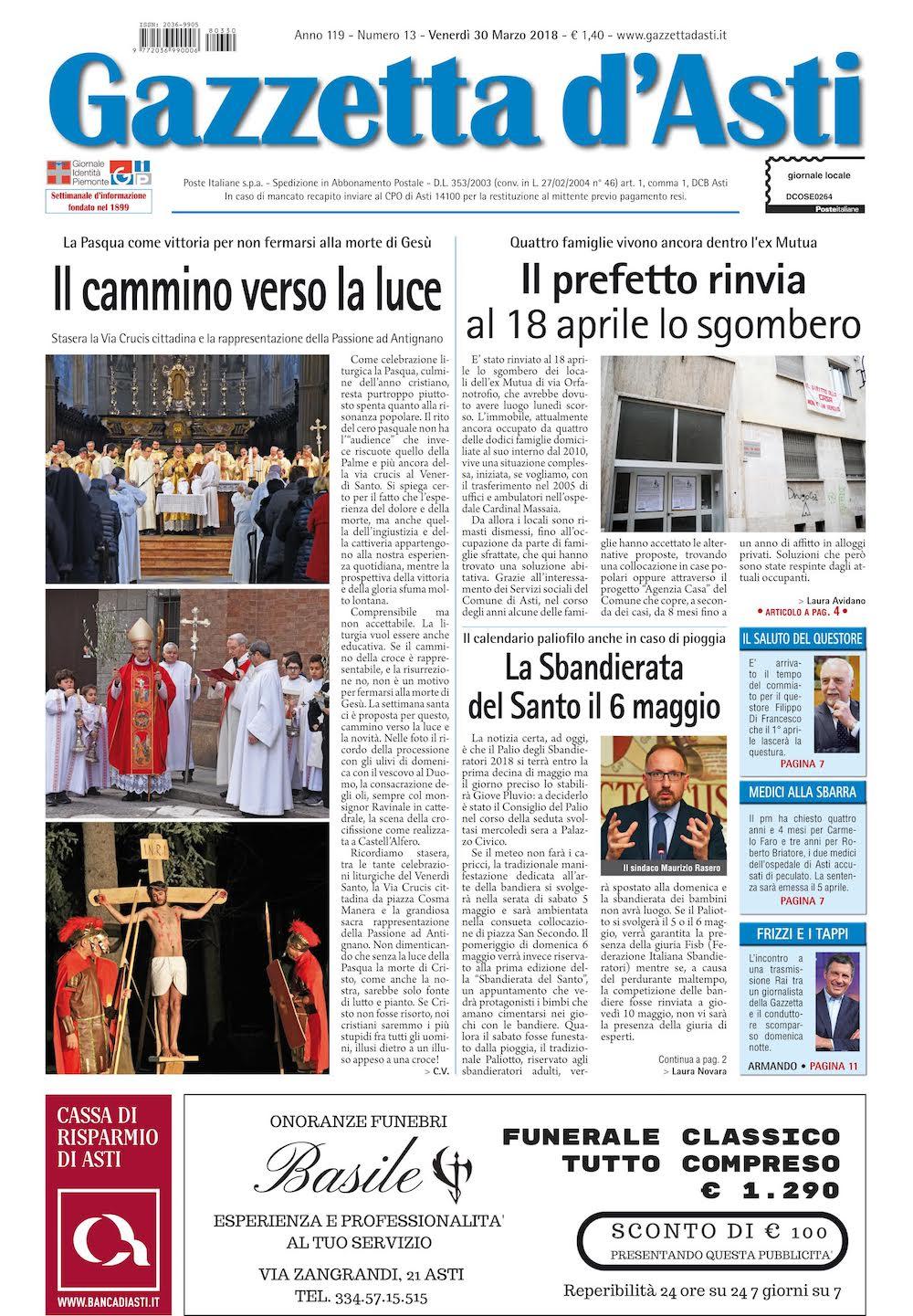 Prima pagina – 30 marzo 2018