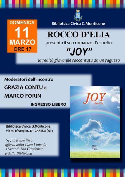 """A Canelli si presenta """"Joy"""", romanzo d'esordio di Rocco D'Elia"""