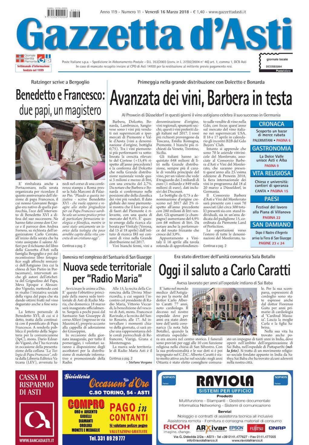 Prima pagina – 16 marzo 2018