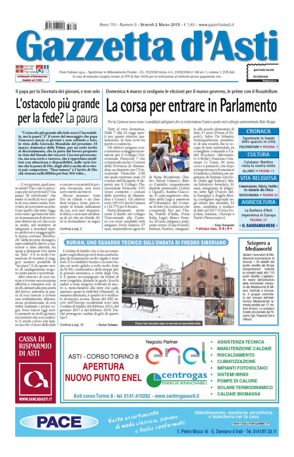Prima pagina – 2 marzo 2018