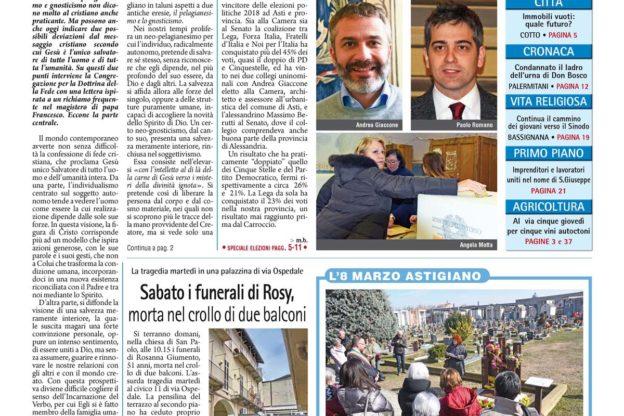 Prima pagina – 9 marzo 2018
