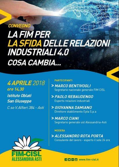 """Tavola rotonda Fim Cisl Alessandria-Asti su """"La sfida delle relazioni industriali 4.0"""""""