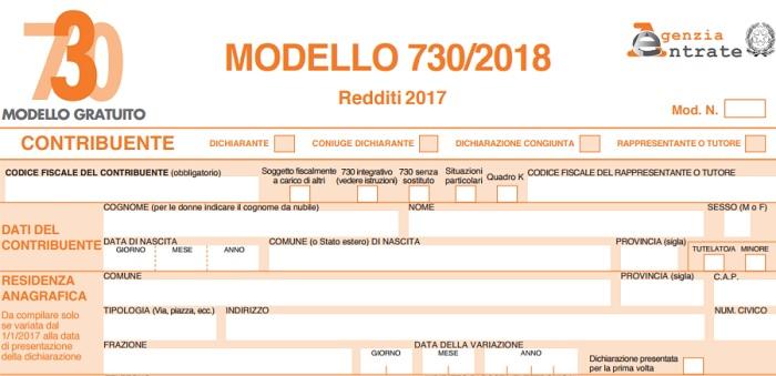 In distribuzione il modello 730/2018 presso l'Ufficio relazioni con il pubblico