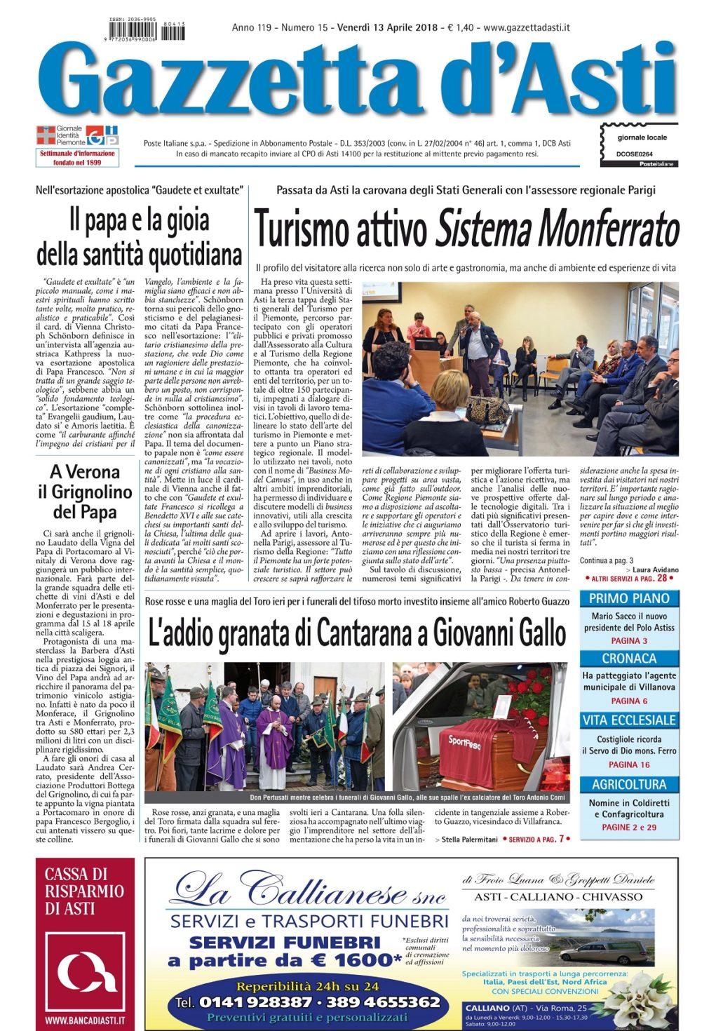 Prima pagina – 13 aprile 2018