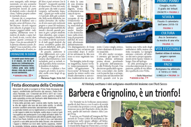 Prima pagina – 20 aprile 2018