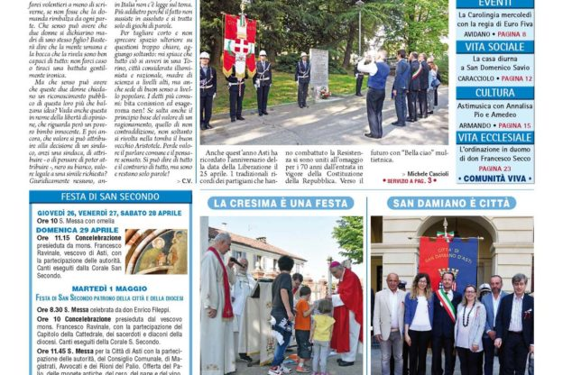 Prima pagina – 27 aprile 2018