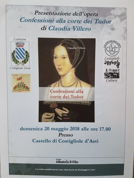 """""""Confessioni alla Corte dei Tudor"""": il libro si presenta a Costigliole"""