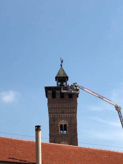 Asti, lavori sulla Torre Troyana dopo il nubifragio