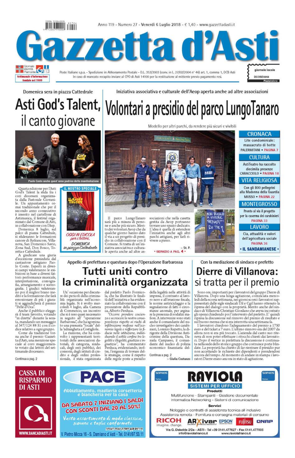Prima pagina – 6 luglio 2018