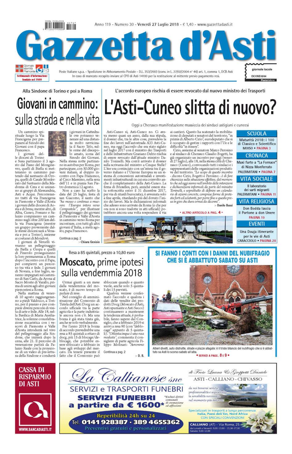 Prima pagina – 27 luglio 2018