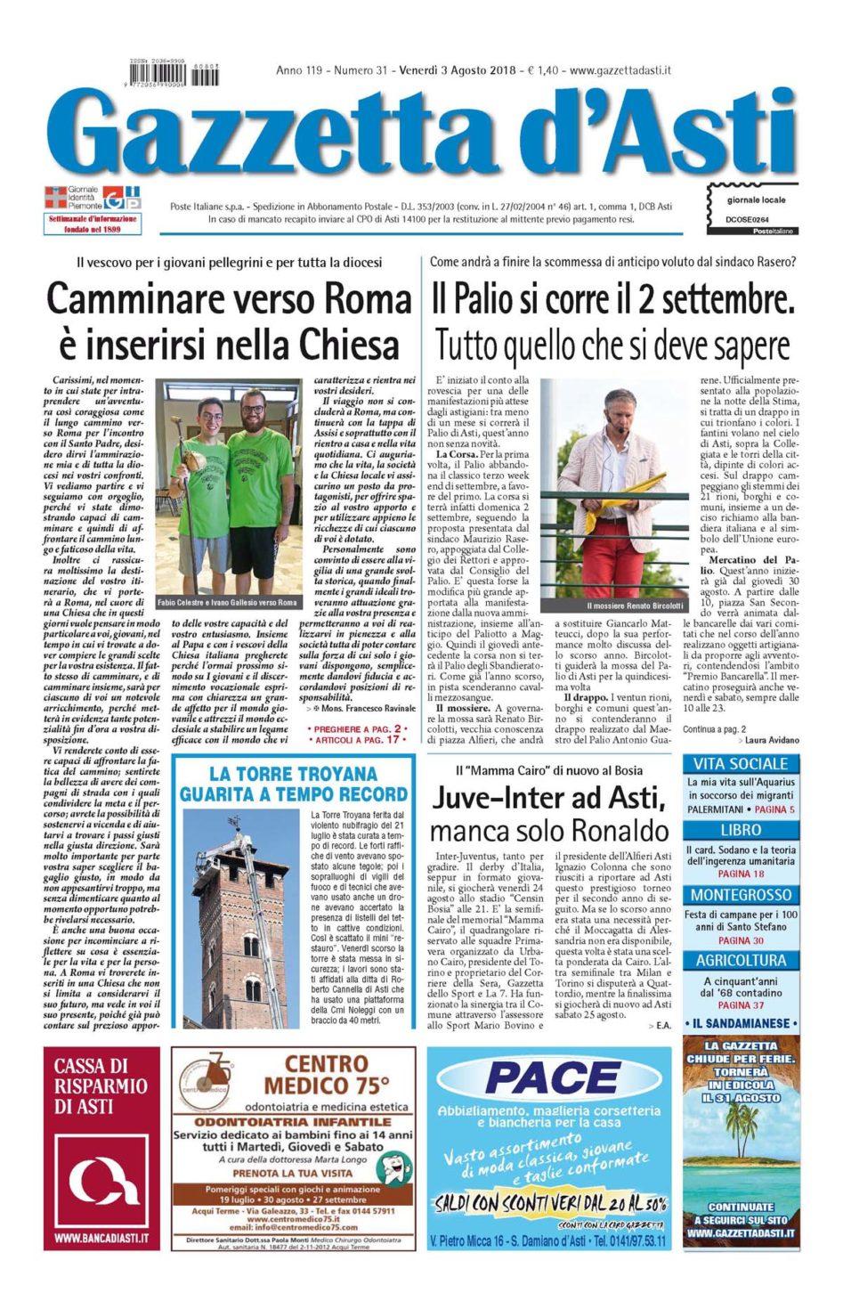 Prima pagina – 3 agosto 2018
