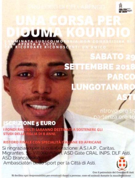 Un corsa per non dimenticare Diouma Koundio