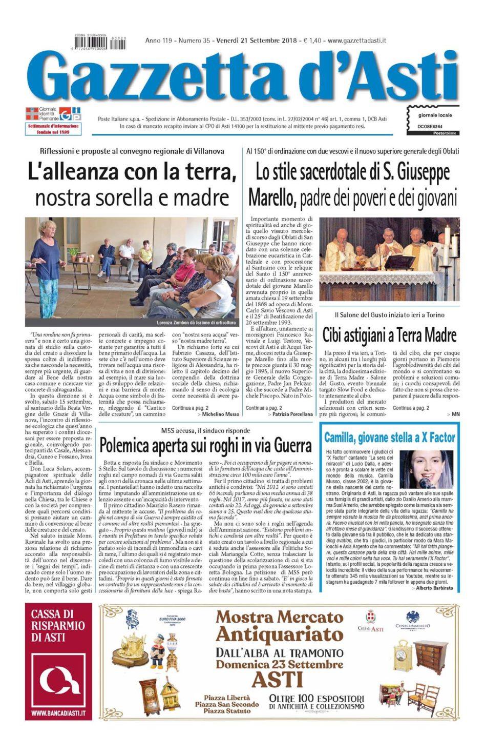 Prima pagina – 21 settembre 2018