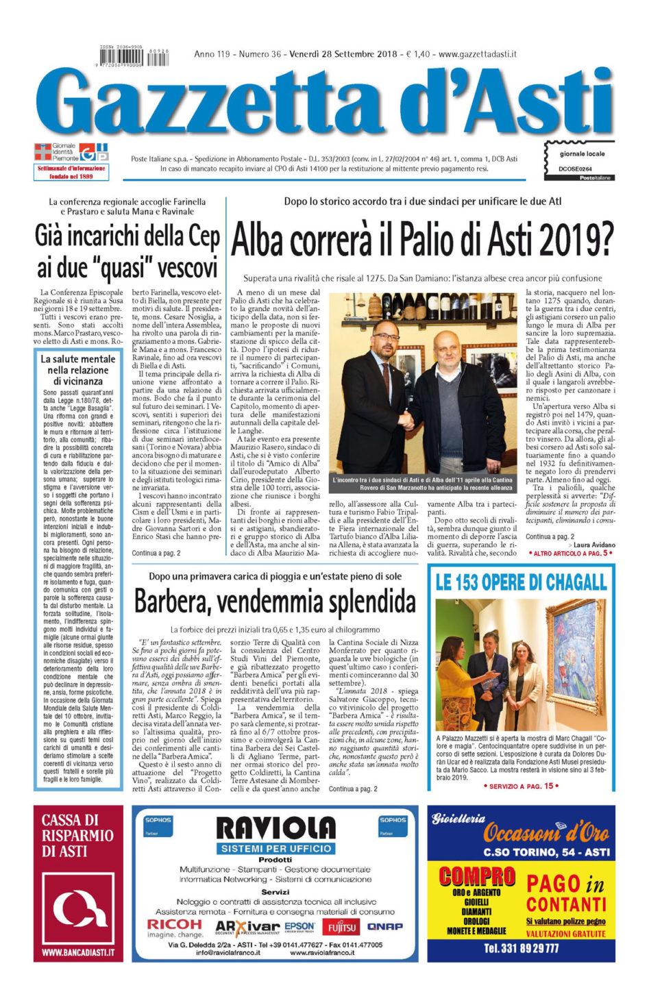Prima pagina – 28 settembre 2018
