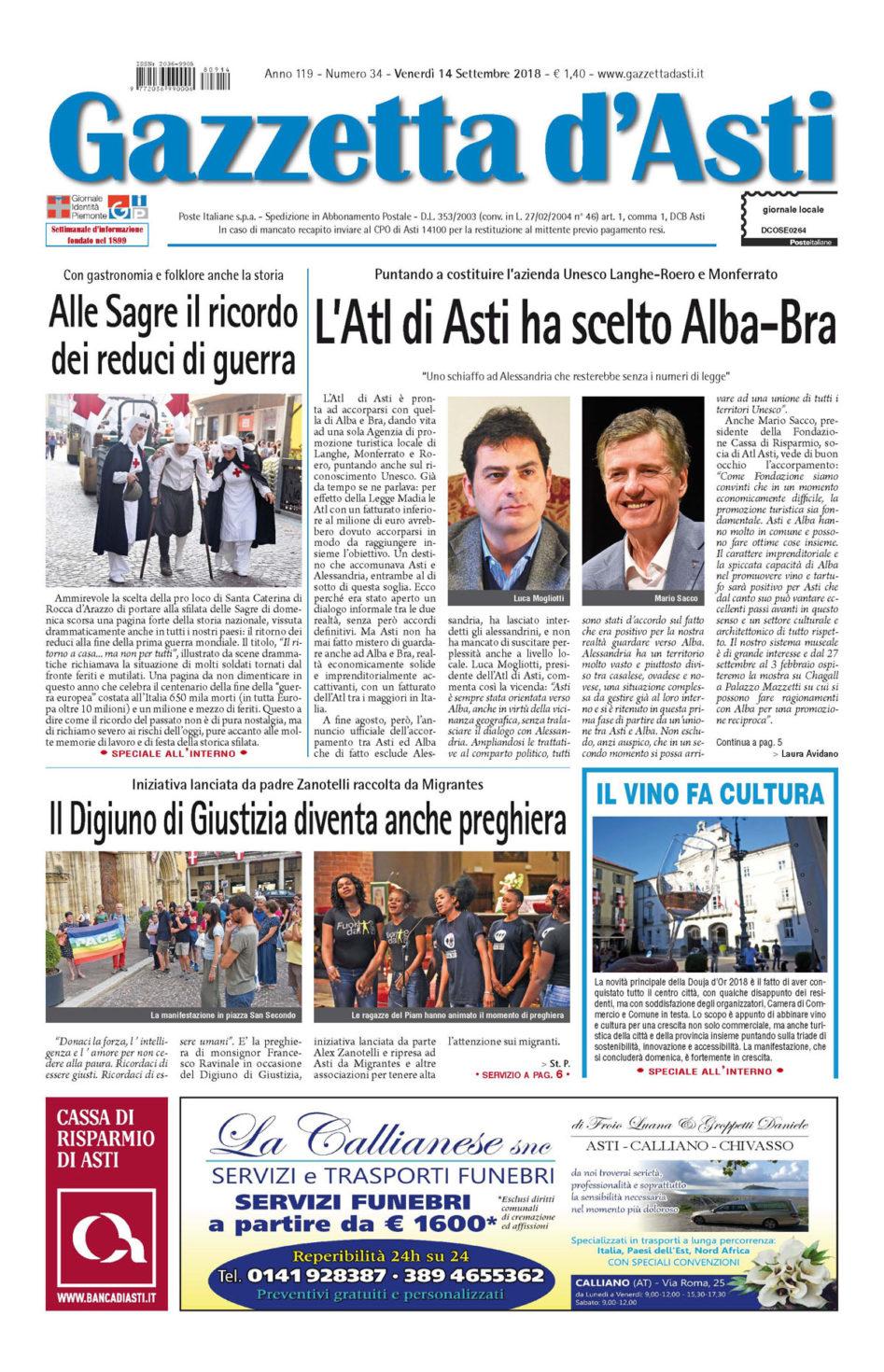 Prima pagina – 14 settembre 2018