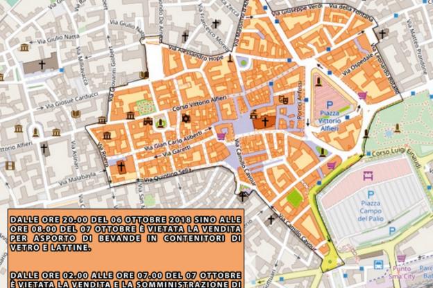 Notte Rosa ad Asti: ordinanza per il divieto della vendita per asporto di bevande in contenitori di vetro e lattine