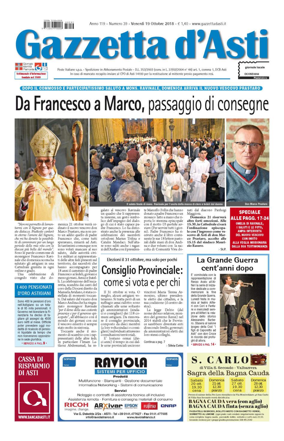 Prima pagina – 19 ottobre 2018