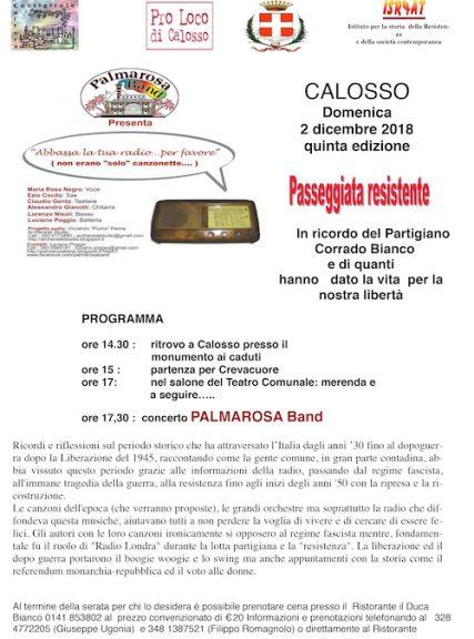 """V edizione della """"Passeggiata Resistente"""" a Calosso"""