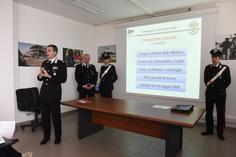 Asti, banda specializzata nel furto di caterpillar sgominata dai carabinieri