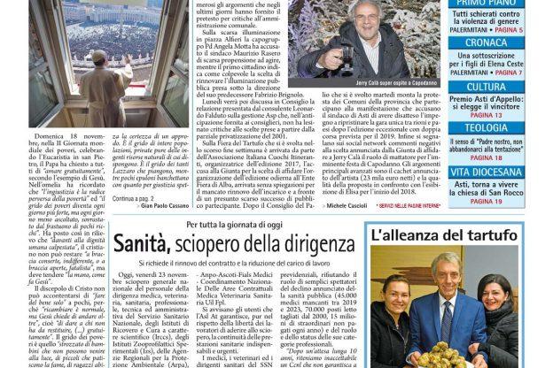 Prima pagina – 23 novembre 2018
