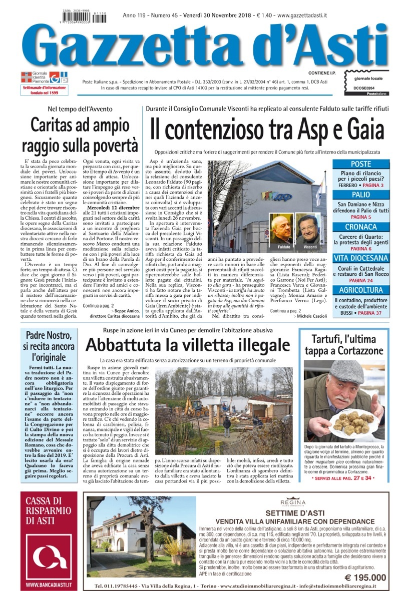 Prima pagina – 30 novembre 2018