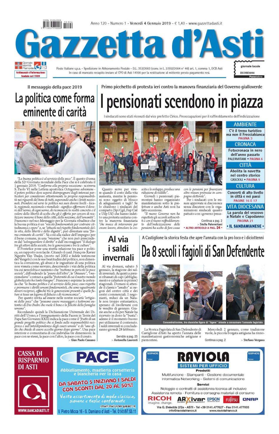 Prima pagina – 4 gennaio 2019