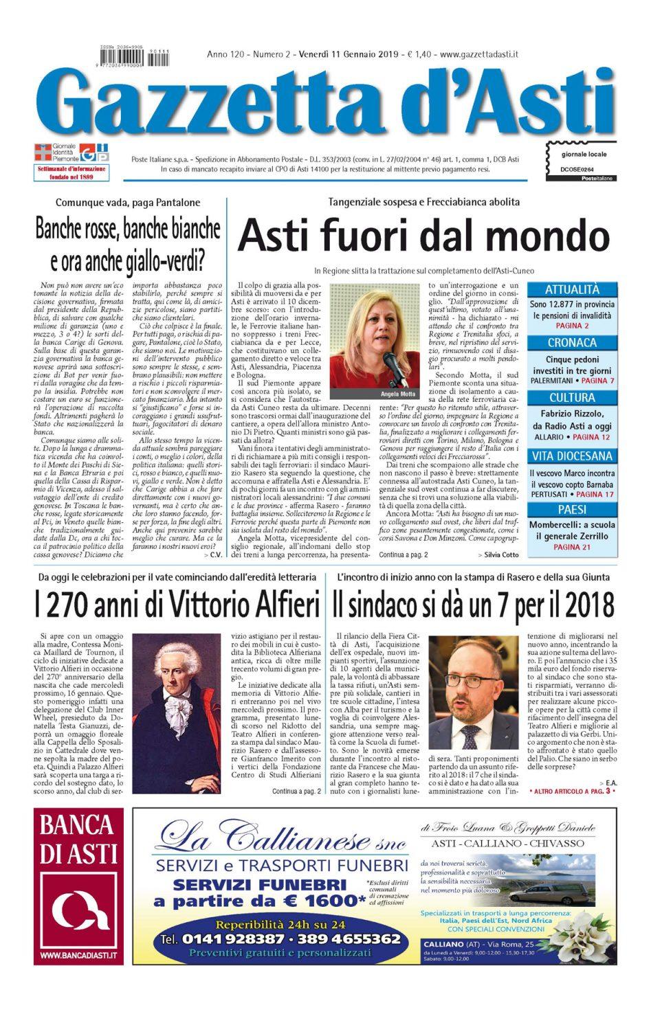 Prima pagina – 11 gennaio 2019