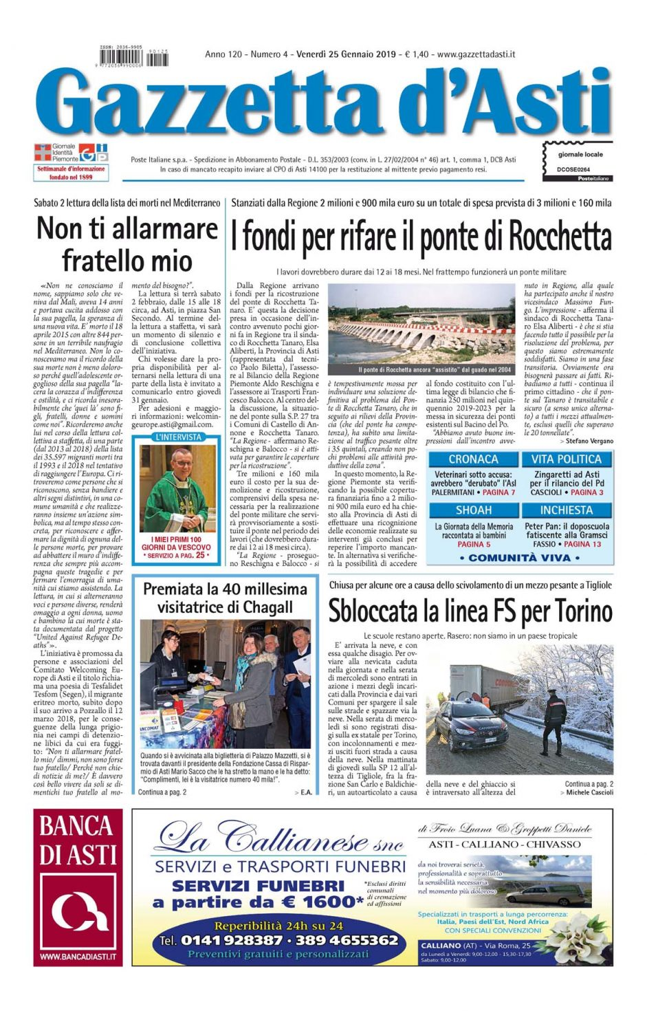 Prima pagina – 25 gennaio 2019