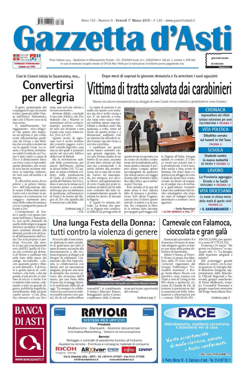 Prima pagina – 1 marzo 2019