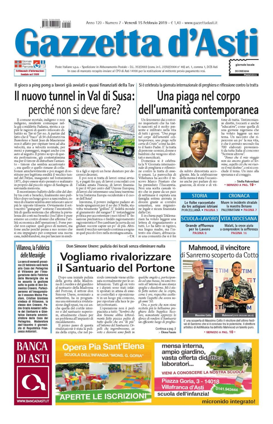 Prima pagina – 15 febbraio 2019