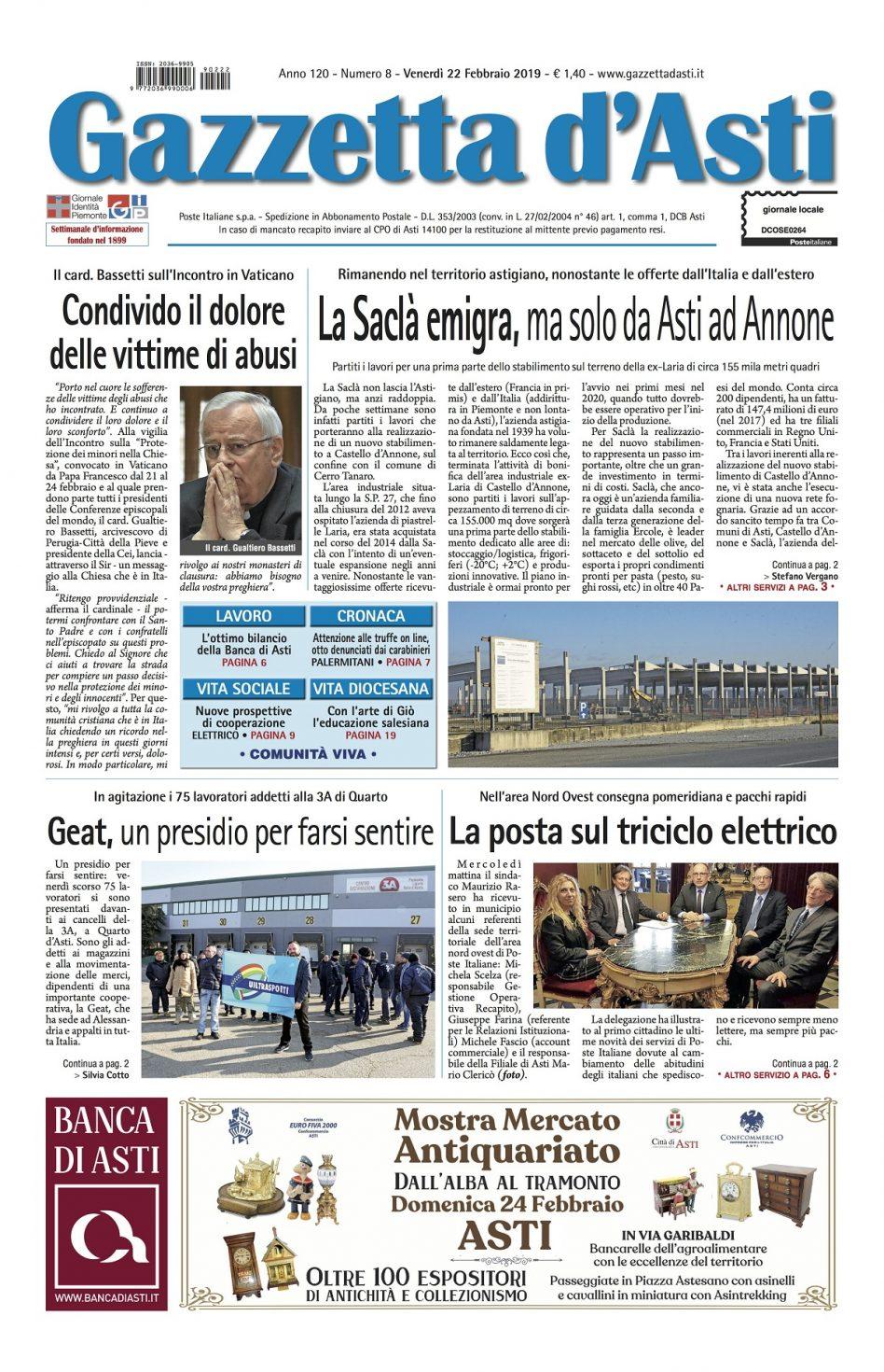 Prima pagina – 22 febbraio 2019