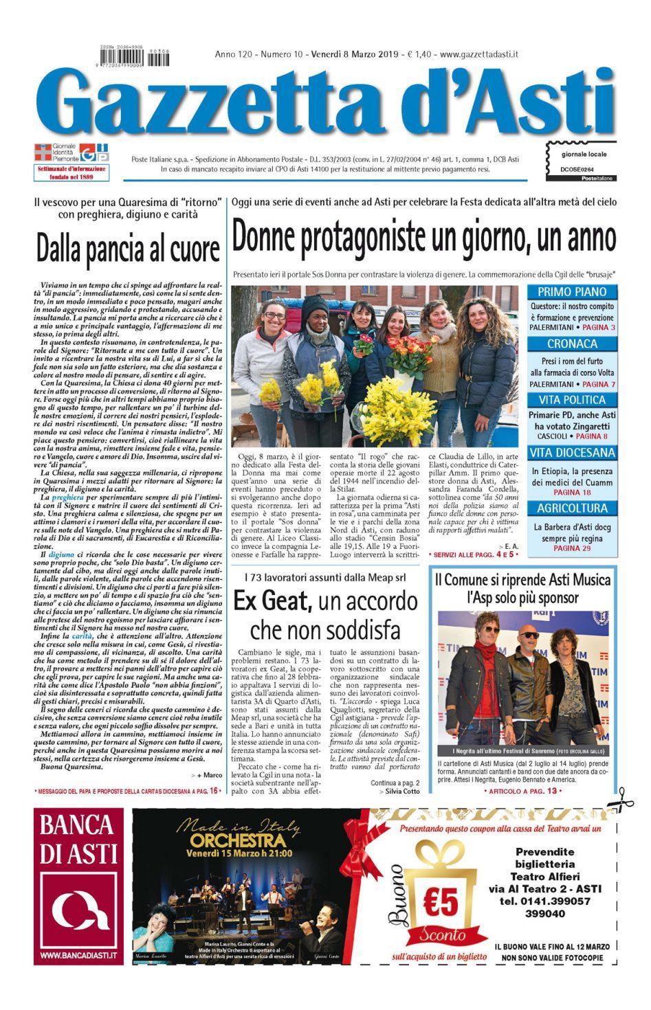 Prima pagina – 8 marzo 2019
