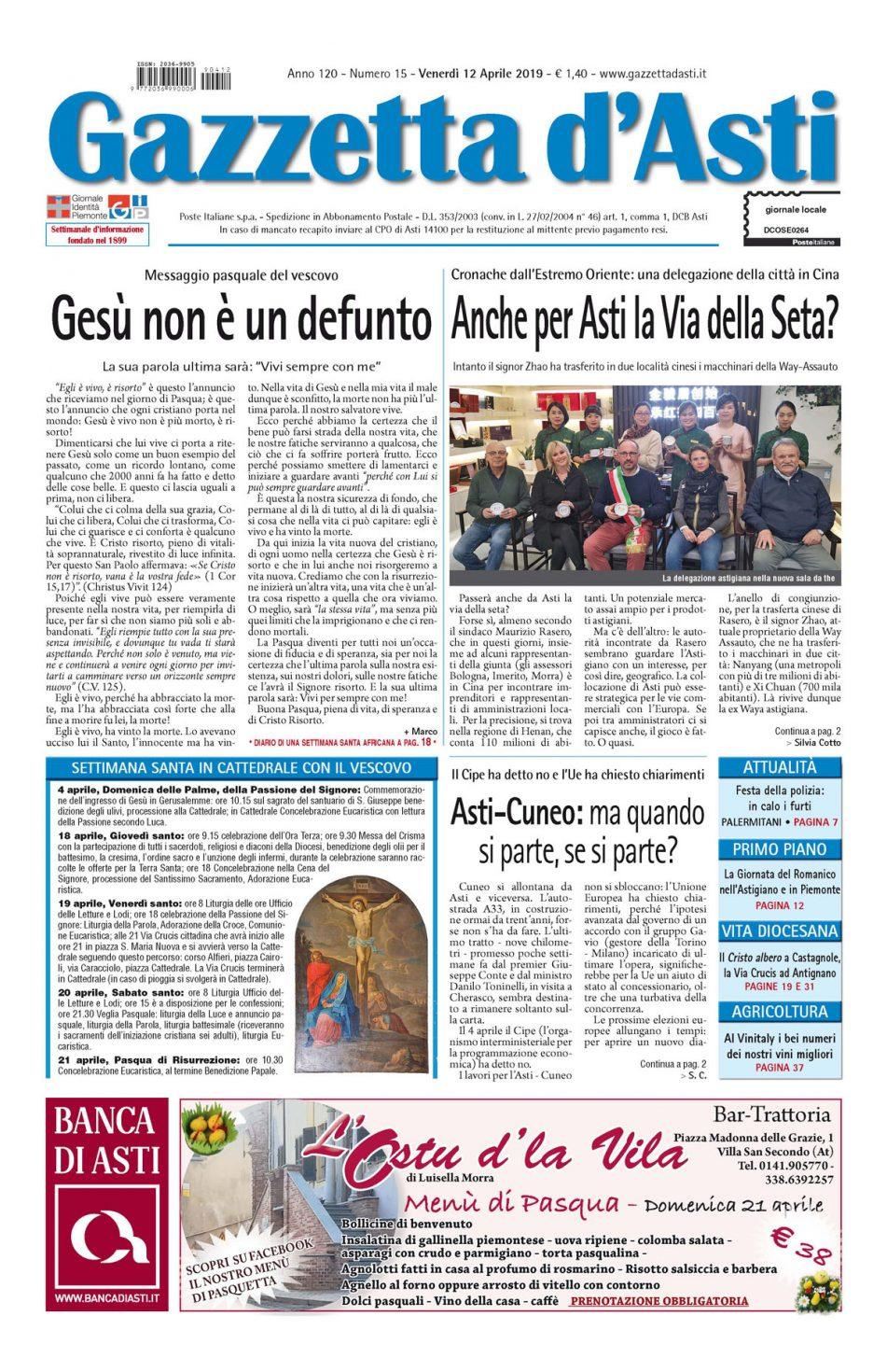 Prima pagina – 12 aprile 2019