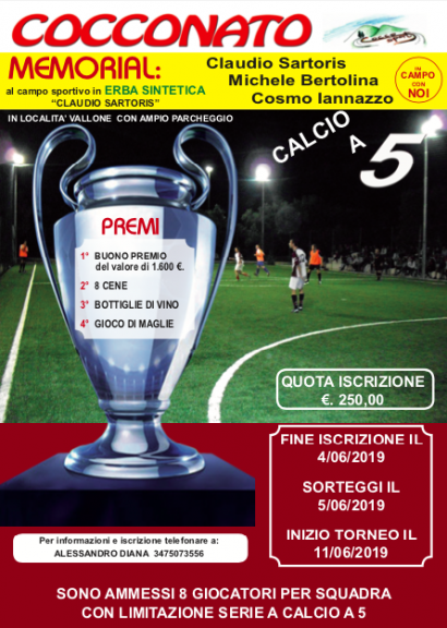 Oggi scadono le iscrizioni per il torneo di Calcio a 5 di Cocconato: 1600 euro il primo premio