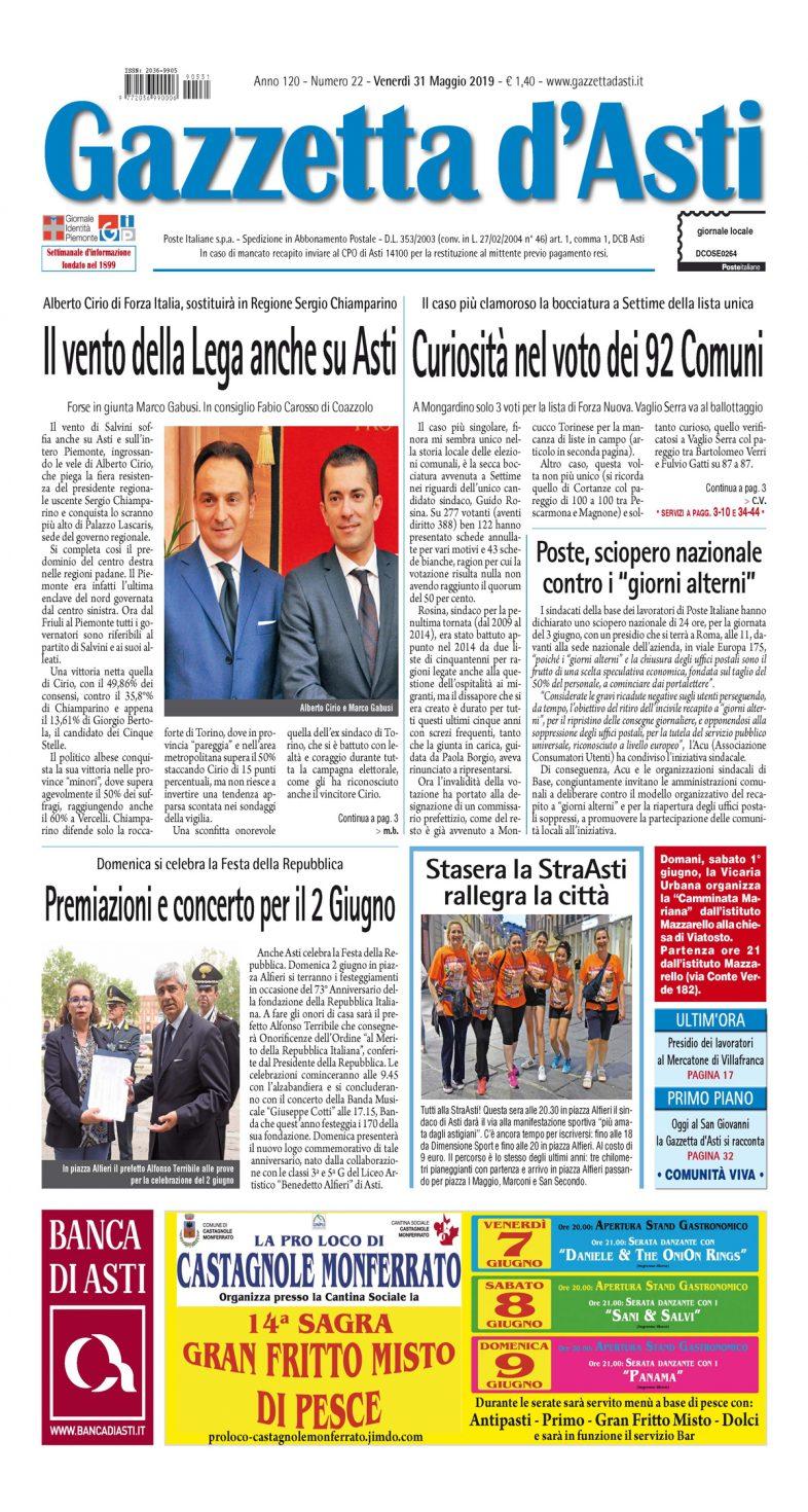 Prima pagina – 31 maggio 2019