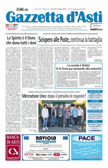 La locandina della Gazzetta d'Asti: i principali argomenti della settimana