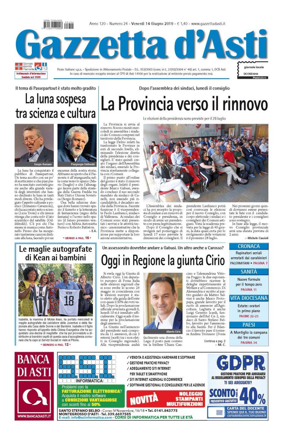 Prima pagina – 14 giugno 2019