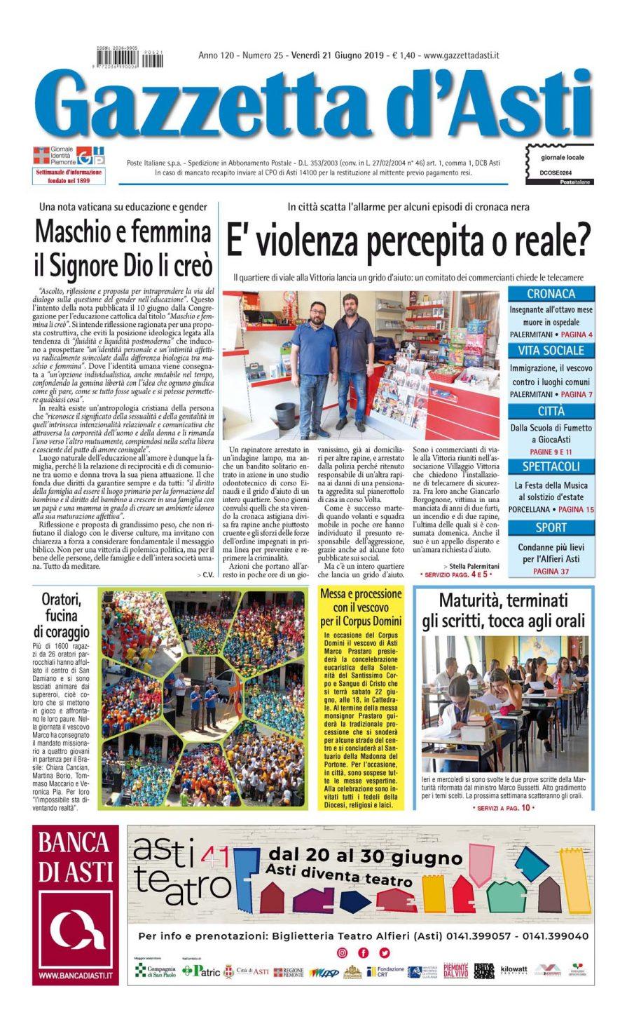Prima pagina – 21 giugno 2019